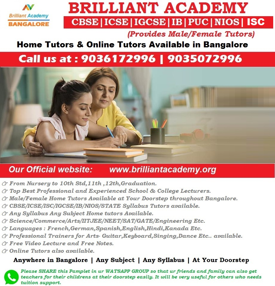 Brilliant Academy Best Home Tuition in Bangalore-SchoSys.com